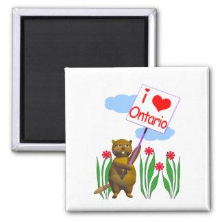 El castor canadiense ama Ontario Imán Cuadrado