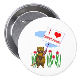 El castor canadiense ama Saskatchewan Pin Redondo 7 Cm