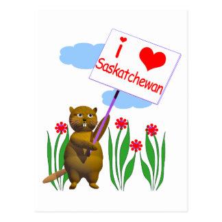 El castor canadiense ama Saskatchewan Tarjeta Postal