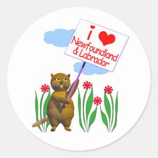 El castor canadiense ama Terranova, Labrador Pegatina Redonda