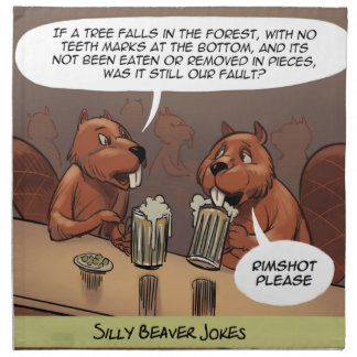 El castor tonto bromea dibujo animado divertido servilleta