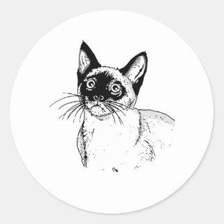 EL CAT SIAMÉS PEGATINA REDONDA