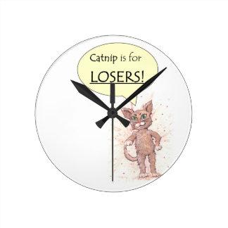 ¡El Catnip está para los perdedores! Reloj Redondo Mediano