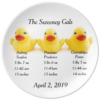 El caucho amarillo Ducks los tríos Platos De Cerámica