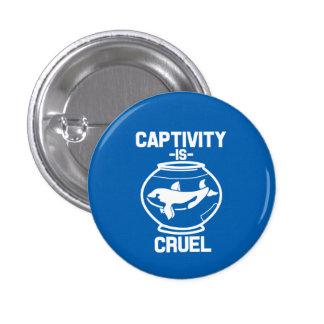 El cautiverio es botón cruel, ahorra las ballenas pin redondo de 1 pulgada