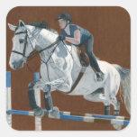 El cazador/el puente Dapple el caballo gris Calcomania Cuadrada Personalizada