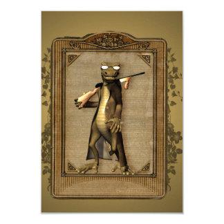 """El cazador, gecko divertido, lindo con el arma invitación 3.5"""" x 5"""""""