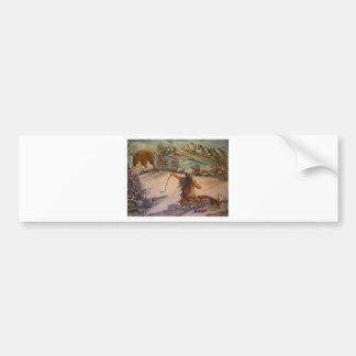 el cazador hace cazado etiqueta de parachoque