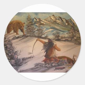 el cazador hace cazado etiqueta redonda