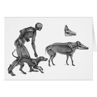 El cazador - perro esquelético con el cazador del  tarjetón