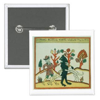 El cazador y el verraco, ruso, tarde décimo octavo pin cuadrada 5 cm