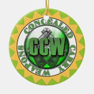 EL CCW ENCUBIERTO LLEVA NAVIDAD DEL ORNAMENTO DEL ADORNO NAVIDEÑO REDONDO DE CERÁMICA