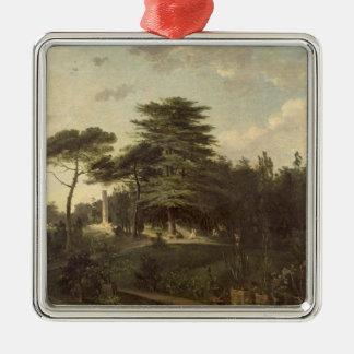 El cedro de Líbano en el Jardin des Plantes Adorno Cuadrado Plateado