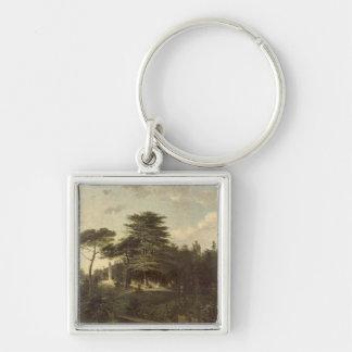 El cedro de Líbano en el Jardin des Plantes Llavero Cuadrado Plateado