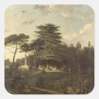 El cedro de Líbano en el Jardin des Plantes Pegatina Cuadrada