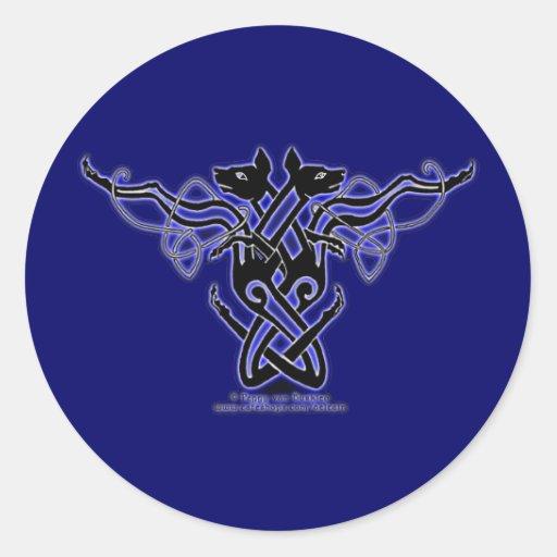 El Celtic Knotwok persigue a los pegatinas, azules Pegatinas Redondas