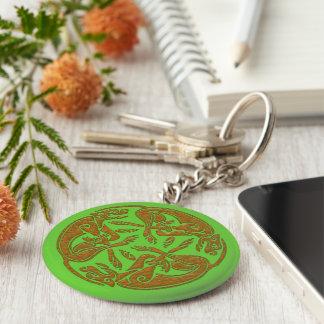 El Celtic persigue mirada de madera del ornamento Llavero Redondo Tipo Pin