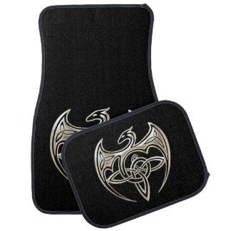 El Celtic trino del dragón de plata y negro anuda Alfombrilla De Auto