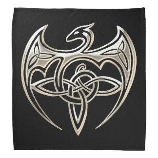 El Celtic trino del dragón de plata y negro anuda Bandanas