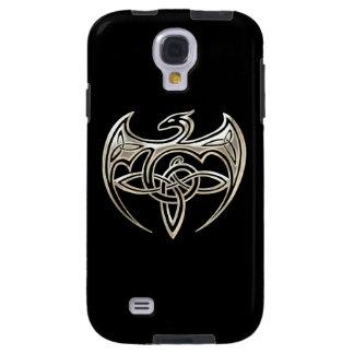 El Celtic trino del dragón de plata y negro anuda Funda Galaxy S4