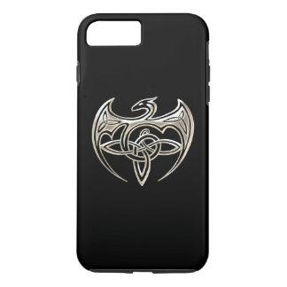 El Celtic trino del dragón de plata y negro anuda Funda iPhone 7 Plus