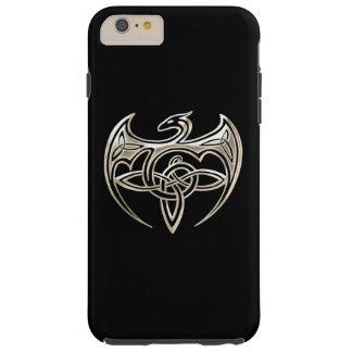 El Celtic trino del dragón de plata y negro anuda Funda Resistente iPhone 6 Plus