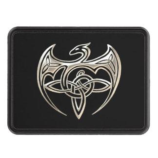 El Celtic trino del dragón de plata y negro anuda Tapas De Remolque