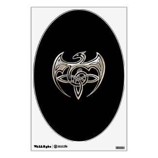 El Celtic trino del dragón de plata y negro anuda Vinilo Adhesivo
