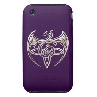 El Celtic trino del dragón de plata y púrpura Tough iPhone 3 Protector