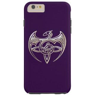El Celtic trino del dragón de plata y púrpura Funda De iPhone 6 Plus Tough