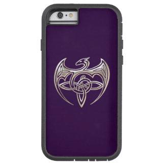 El Celtic trino del dragón de plata y púrpura Funda De iPhone 6 Tough Xtreme