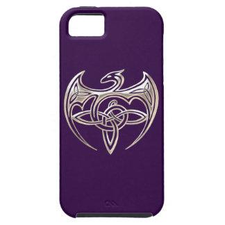 El Celtic trino del dragón de plata y púrpura iPhone 5 Carcasa