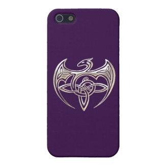 El Celtic trino del dragón de plata y púrpura iPhone 5 Carcasas