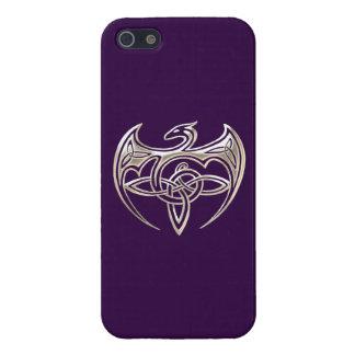 El Celtic trino del dragón de plata y púrpura iPhone 5 Funda