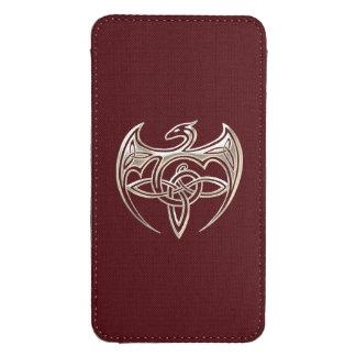 El Celtic trino del dragón de plata y rojo anuda Funda Acolchada Para Galaxy S4