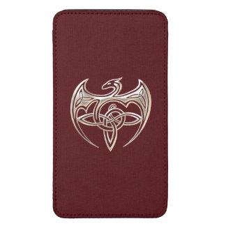 El Celtic trino del dragón de plata y rojo anuda Funda Acolchada Para Galaxy S5