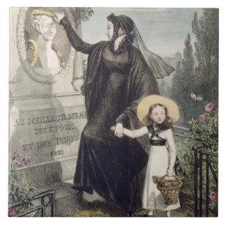 El cementerio de Pere Lachaise, impreso por Charle Azulejo Cuadrado Grande