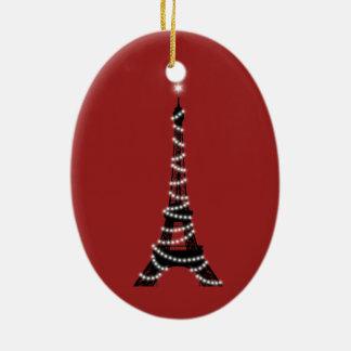 El centelleo enciende el ornamento de la torre Eif Adornos De Navidad