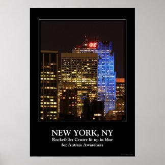 El centro de Rockefeller encendió para arriba el Poster