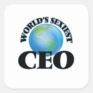 El CEO más atractivo del mundo Calcomania Cuadrada Personalizada