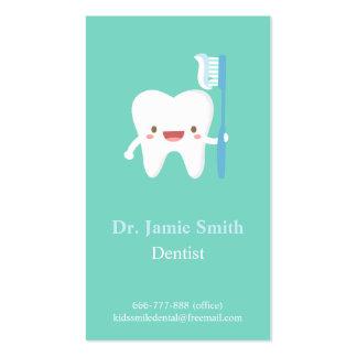 El cepillo de dientes lindo del diente embroma tarjetas de visita