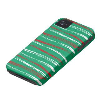 El cepillo de Navidad raya Blackberry verde intrép iPhone 4 Case-Mate Cobertura