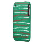 El cepillo de Navidad raya el iPhone verde 3G Bare Case-Mate iPhone 3 Protector