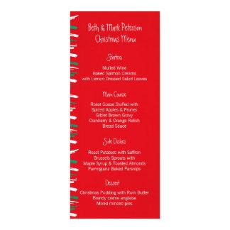 """El cepillo de Navidad raya el menú rojo de la cena Invitación 4"""" X 9.25"""""""