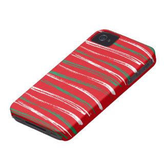 El cepillo de Navidad raya la curva roja de Blackb iPhone 4 Case-Mate Cárcasa