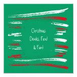 El cepillo de Navidad raya la invitación cuadrada Invitación 13,3 Cm X 13,3cm