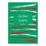 El cepillo de Navidad raya la invitación verde Invitación 12,7 X 17,8 Cm
