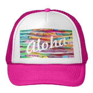 El cepillo pintado colorido vibrante raya al gorros bordados