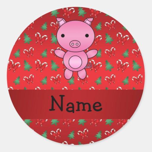 El cerdo conocido personalizado arquea los pegatina redonda