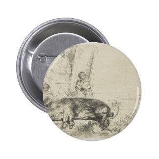 El cerdo de Rembrandt Pin Redondo De 2 Pulgadas